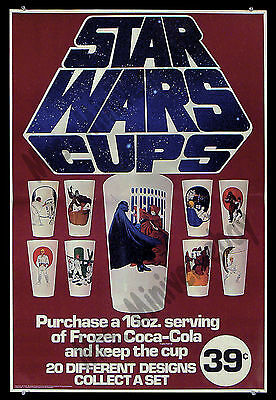Star Wars Cups FROZEN COKE '77 AMAZINGLY RARE Coca Cola ADVERTISING Movie Poster