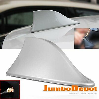 AU Silver Car Shark Fin Roof Mount FM/AM Radio Signal Antenna Aeria Universal