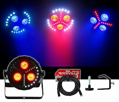 Chauvet DJ FXPar 3 RGB+UV SMD LED Par Can Wash Light w/Strobe+DMX Cable+Clamp