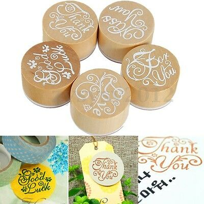 Wooden Rubber Round Floral Stamps Handwriting Words Wishes Craft Pattern UK