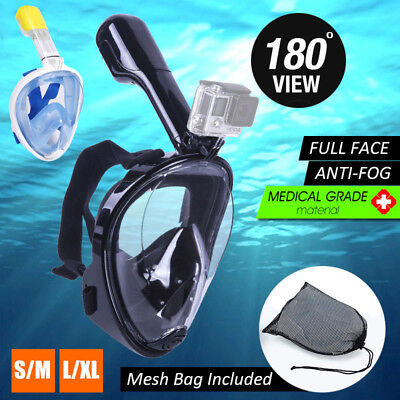 Full Face Snorkeling Mask 180° Seaview Anti Fog Swimming Suitable for GoPro