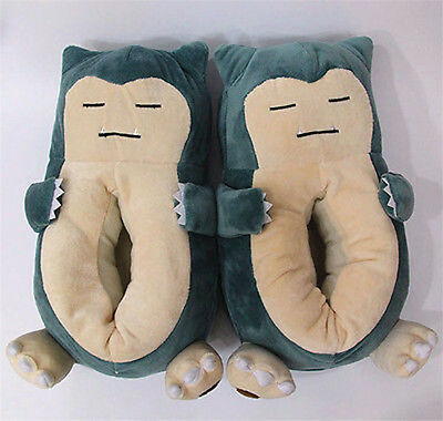 Pokemon Snorlax Soft Plush Heel Cover Slippers Warmer Indoor Shoes Fat Belly