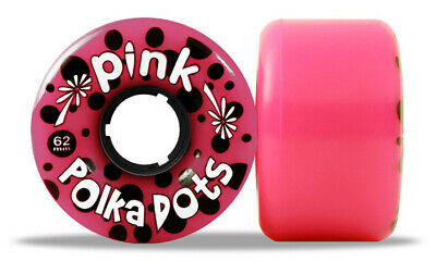 PINK Longboard Wheels POLKA DOTS PINK 62MM 96A by ABEC 11