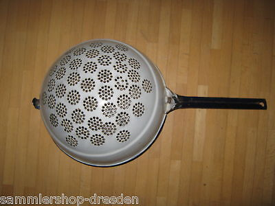 15056 German Emaille enamel Groß Sieb Big strainer blau weiß Blue white handle