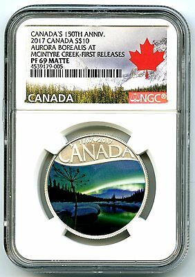 2017 $10 Canada 150Th Silver Proof Ngc Pf69 Aurora Borealis First Releases
