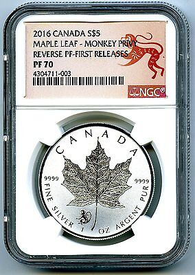 2016 $5 Canada 1 Oz Silver Maple Leaf Monkey Privy Ngc Pf70 Fr Reverse Proof !!