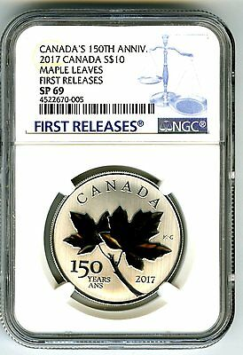 2017 Canada $10 150Th Annv Silver Ngc Sp69 Maple Leaf Leaves First Releases Blue