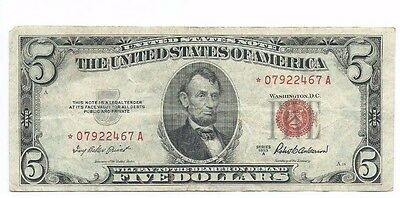 1953A $5 United States Red Seal STAR Note 5 Dollar Circulated Note