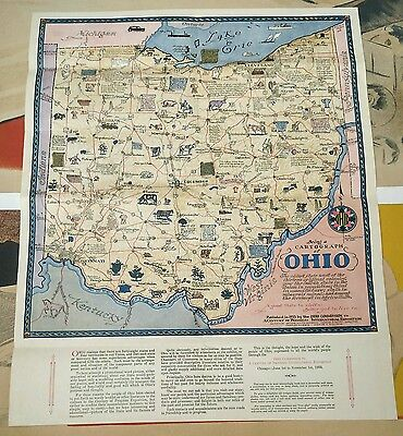 Cartograph of Ohio 1933 pictorial map Sewah folding map century of progress