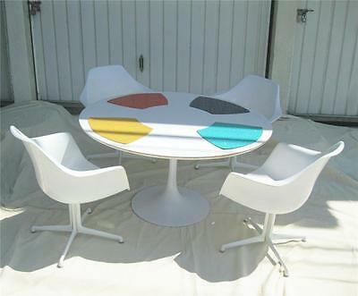 "Vintage Burke Mid Century Modern 5 Piece Tulip Dinning Set~42"" Table + 4 Chairs~"