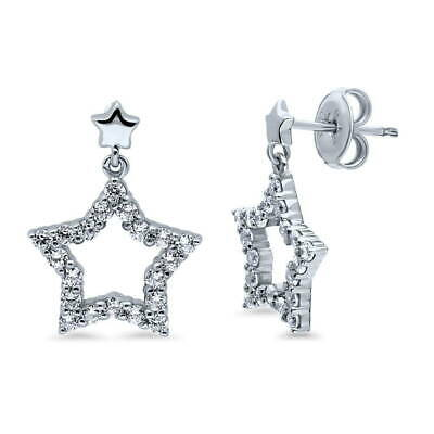 BERRICLE Sterling Silver Cubic Zirconia CZ Star Fashion Dangle Drop Earrings