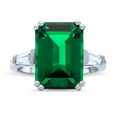 BERRICLE Silver Emerald Simulated Emerald CZ 3-Stone Right Hand Cocktail Ring