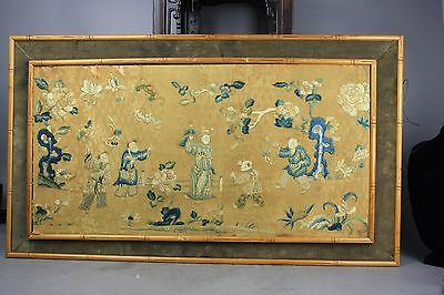 18th/19th C. Chinese Framed Figural Embroidery