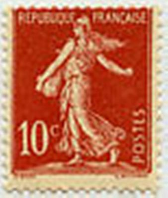 "FRANCE STAMP TIMBRE N° 134 "" SEMEUSE FOND PLEIN AVEC SOL 10 C ROUGE"" NEUF x TB"