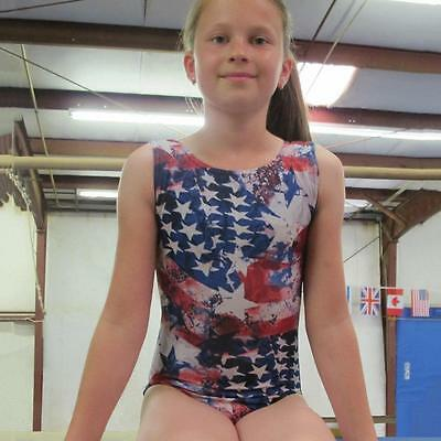 Gymnastics Leotard Girls sz CL Child 10 red blue white patriotic design  ca