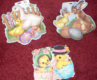 Lot bunny ducks wall decorations cardboard 3 piece NOS Easter Spring ducklings