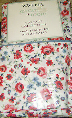 NIP Hillside roses country chic Waverly cottage collection 2 standard pillowcase