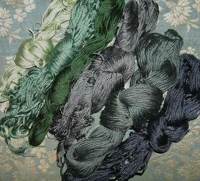 6 BEAUTIFUL LARGE SKEINS OF ANTIQUE/VINTAGE EMBROIDERY SILKS c1930s