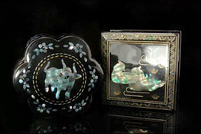 2 Vintage Chinese Lac Burgaute Mother Of Pearl Trinket Boxes