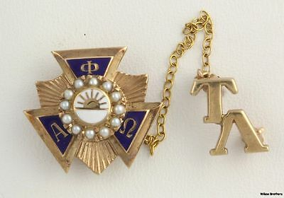 Genuine Pearl Alpha Phi Omega Badge - 10k Solid Yellow Gold Pin 5.9g Vintage