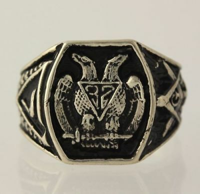 NEW Scottish Rite Ring - Sterling Silver Antiqued Masonic Collect 32nd Degree