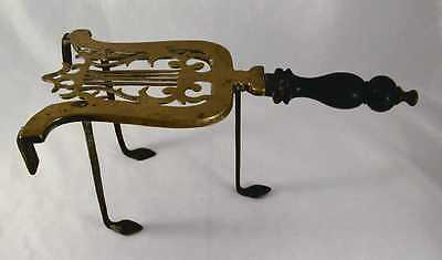 Antique Brass & Cast Iron Trivet Lyre Form Iron Legs and Turned Wood Handle