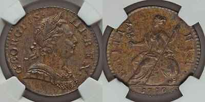 1770 Copper Coin Great Britain Half Penny King George III Laureate Bust NGC AU50