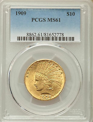 1909 Indian Head Gold $10 Eagle PCGS MS61