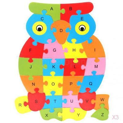3x Colorful Owl Animal Wooden Alphabet Puzzle ABC English Letters Education Toy