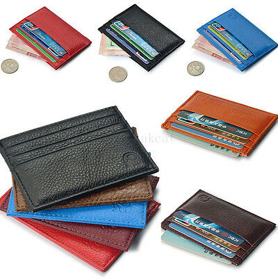Men's Womens Real Leather Small Id Credit Card Wallet Holder Slim Pocket Case