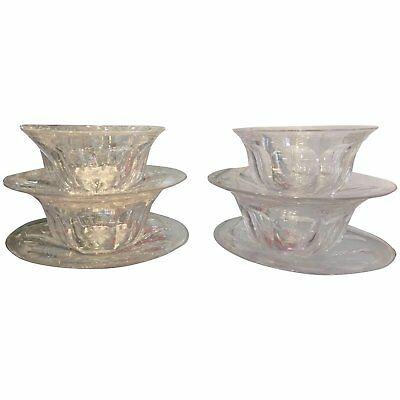 Set Of 4 Antique Hawkes Crystal Finger Bowls & Under-plates