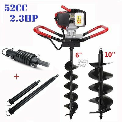 "2.3HP Gas Powered Post Hole Digger + 6"" & 10"" Auger Bit Shock Absorber Extension"