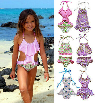 Toddler Kids Girls Swimwear One-Piece Swimsuit Bikini Set Swimmer Bather Clothes