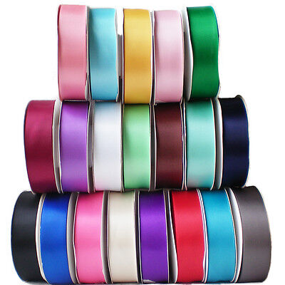 50M/25M Double Faced Sided Satin Ribbon Full Reel Fabric 3/6/10/15/25/38mm Width