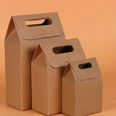 10 Kraft Paper Candy Box With Handle Snacks Gifts bag For Wedding Birthday Party