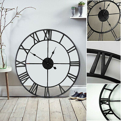 40CM Large Classic Vintage Cast Iron Wrought Garden Wall Mounted Clock Outdoor