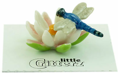 """Little Critterz - LC845 """"Bluet"""" Dragonfly on Water Lily"""
