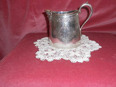 Vintage /ANTIQUE silver plated CREAM JUG hand? engraved with floral motif