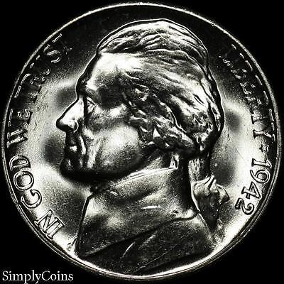 1942-S Jefferson Silver War Nickel 5c ~ BU Uncirculated ~ LUSTER! US Coin