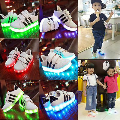 New 7 LED Light Shoes Kids Boy Girl Upgraded USB Charging Flashing Sneakers