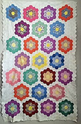Antique Grandmother's Flower Garden Quilt Top in Feedsack Fabrics