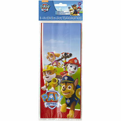 Wilton Paw Patrol Cookie Candy Favor Snack Birthday Party Bags w/ Ties, 16-Count