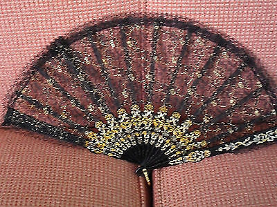 Vintage Black Lace Hand Fan w/Golden-Bronze-colored accents -- Use or Frame