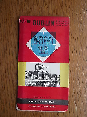 Ordnance Survey Map Of Dublin Street Index Bus Routes 1965  General Interest