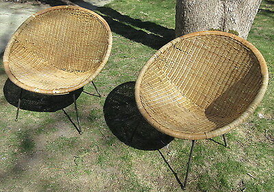 Pair Mid Century Modern Rattan Scoop Chairs w/Wrought Iron Pencil Legs