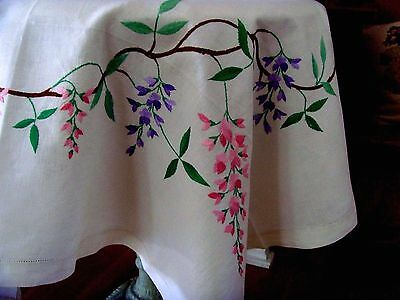 Vintage Linen Large Hand Embroidered Floral Tablecloth Wisteria Garland Stunning
