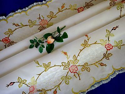 Stunning Antique Vintage Silk Hand Embroidered Tablecloth Pink Roses Gold Lace