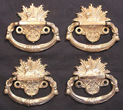 Original Lot of 4 Vintage Baby Casket Handles Lamb Sunburst Steampunk Goth