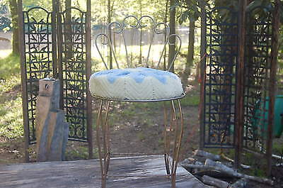 Vintage Antique Wrought Iron Rod Vanity Chair With Crochet Pad
