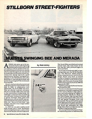 1969 Hurst Dart Swinging Bee & Charger Merada  ~  Great 3-Page Article / Ad
